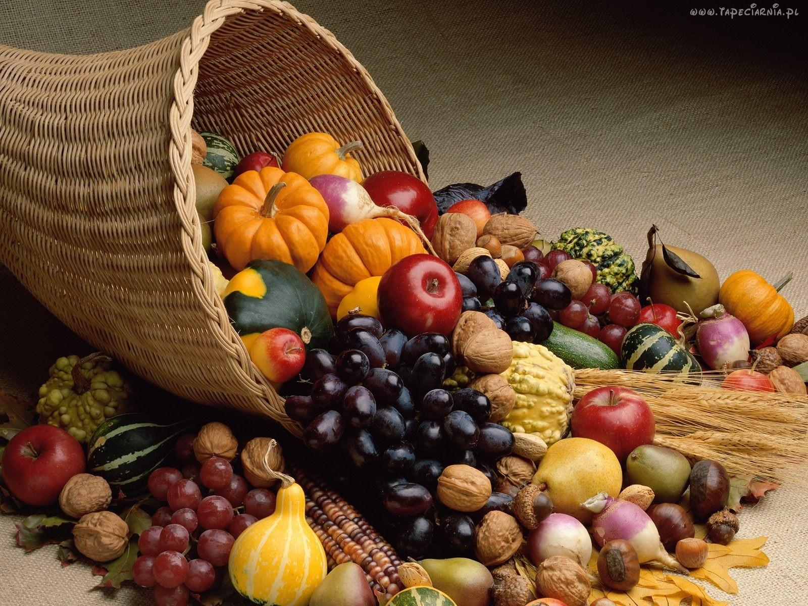Znalezione obrazy dla zapytania kosz jesiennych warzyw i owocow