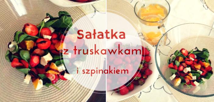 Sałatka z truskawkami, szpinakiem i serem gorgonzola