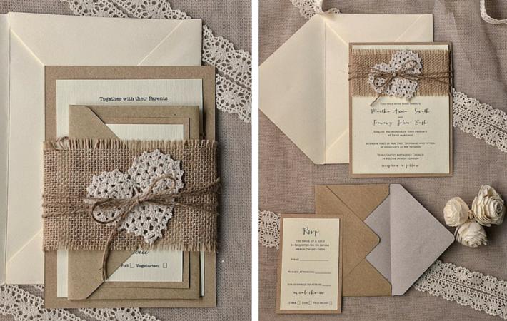 szary papier i koronka zaproszenia