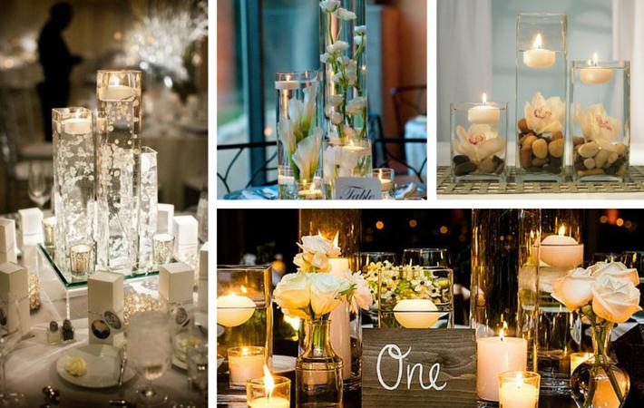 wodna dekoracja na stół weselny